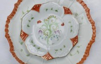 hand painted dinner plate with accent dessert plate