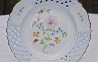 dresden style open work plate with beautiful peony and butterfly designs