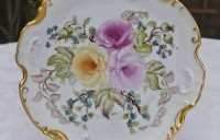 scallop plate with roses and gold