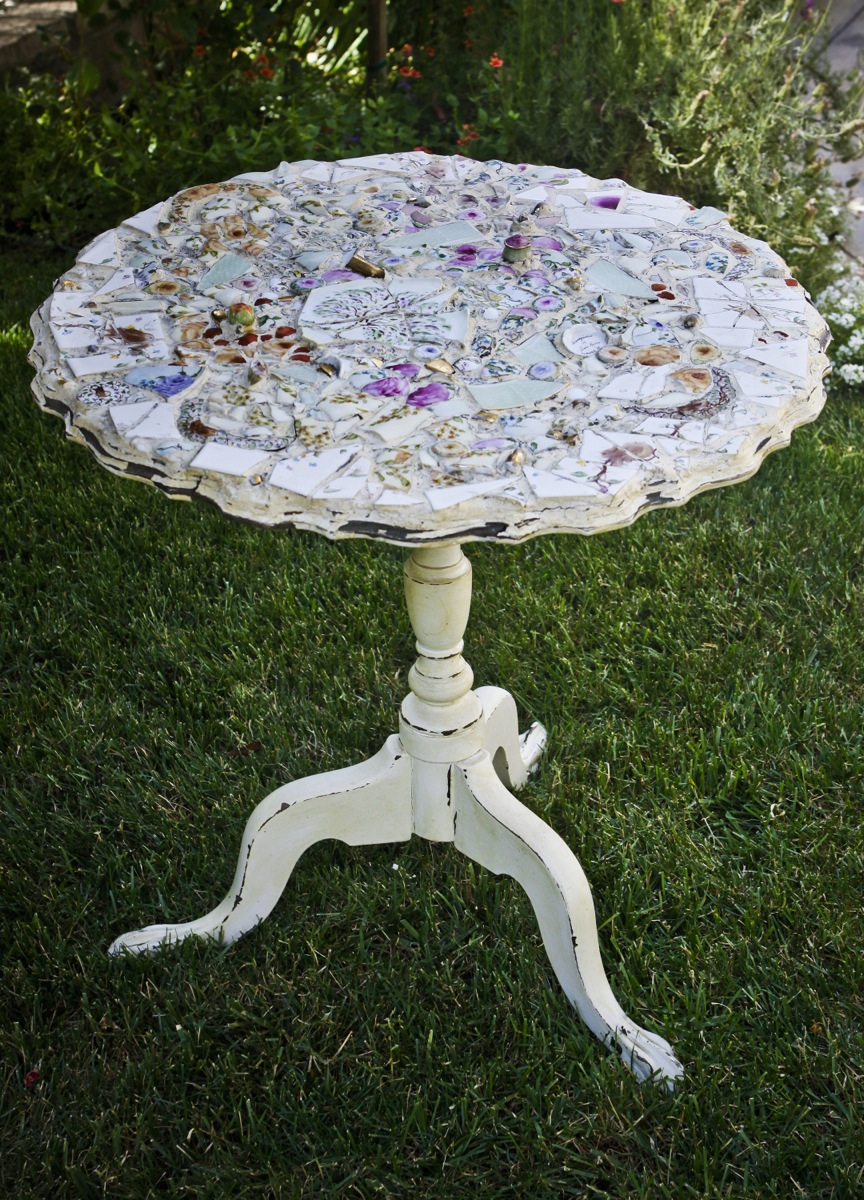 Tea Table With Hand Painted Mosaic China Top Lissikaplan Com