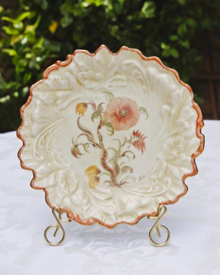 embossed leaf plate with whimsical floral design